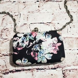 WHBM Black Floral Clutch Purse